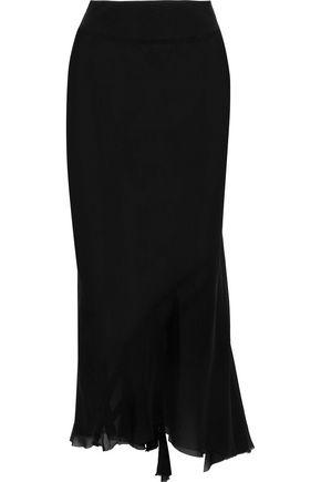 RICK OWENS Ribbed knit-paneled pleated silk-georgette midi skirt