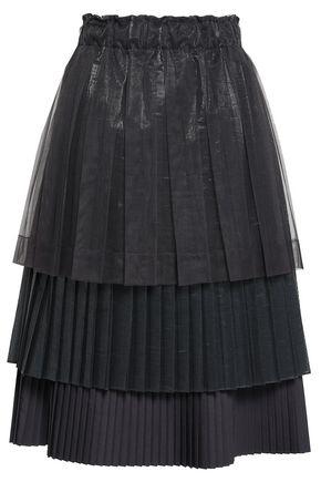 BRUNELLO CUCINELLI Tiered pleated tulle and poplin midi skirt