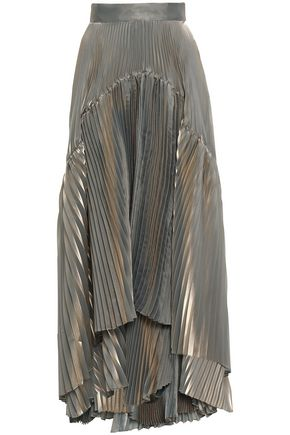 BRUNELLO CUCINELLI Plissé layered iridescent organza maxi skirt