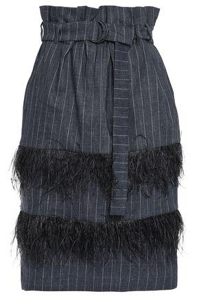 BRUNELLO CUCINELLI Feather-trimmed pinstriped linen and wool-blend skirt