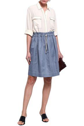BRUNELLO CUCINELLI Gathered cotton and ramie-blend twill skirt