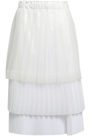 BRUNELLO CUCINELLI Tiered pleated coated-tulle, organza and poplin midi skirt