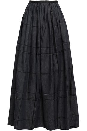 BRUNELLO CUCINELLI Sequin-embellished gathered denim maxi skirt
