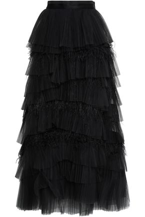 BRUNELLO CUCINELLI Bead-embellished tiered tulle maxi skirt