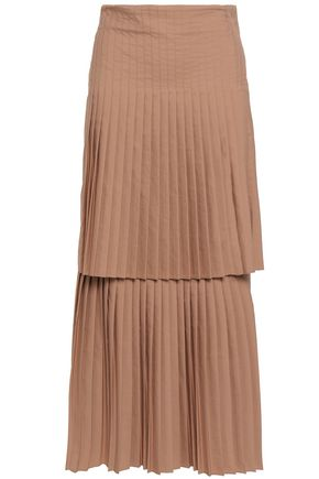 BRUNELLO CUCINELLI Layered pleated poplin midi skirt