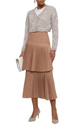 BRUNELLO CUCINELLI Layered pleated poplin midi skirt