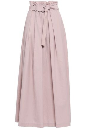 BRUNELLO CUCINELLI Belted crinkled cotton-blend poplin maxi skirt