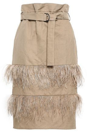 BRUNELLO CUCINELLI Feather-trimmed cotton and linen-blend canvas skirt