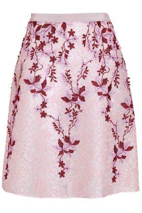 GIAMBATTISTA VALLI Floral-appliquéd lace skirt