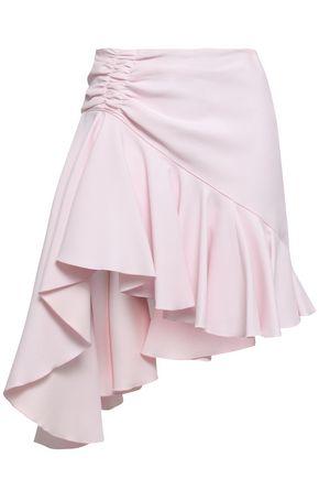GIAMBATTISTA VALLI Asymmetric ruched crepe mini skirt