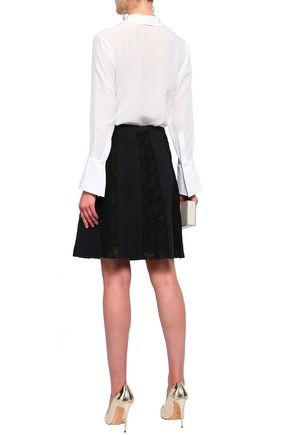 GIAMBATTISTA VALLI Crocheted crepe mini skirt