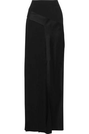 SAINT LAURENT Satin-paneled crepe maxi skirt