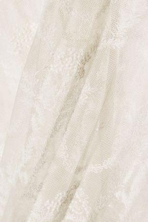 STELLA McCARTNEY Elisha pleated cotton-blend and embroidered tulle skirt