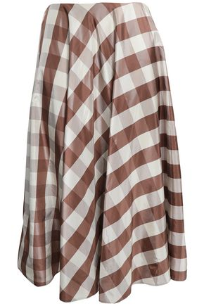 VALENTINO Checked silk midi skirt