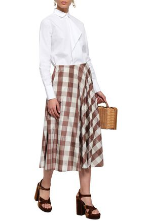 VALENTINO Striped silk midi skirt