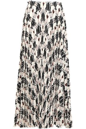 VALENTINO Pleated printed silk crepe de chine maxi skirt