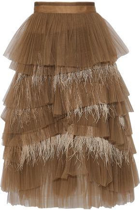 BRUNELLO CUCINELLI Tiered feather-trimmed tulle skirt