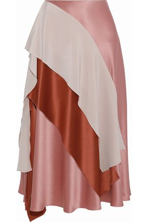 ROKSANDA Layered color-block silk-satin midi skirt