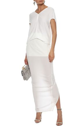 RICK OWENS Pillar split-back silk-jersey maxi skirt