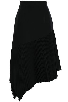 MILLY Paneled pleated crepe skirt