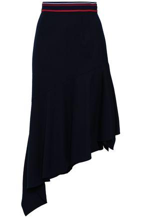 MILLY Asymmetric wool-blend skirt