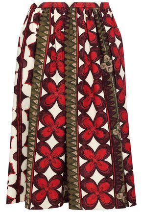 VALENTINO Pleated printed wool and silk-blend skirt