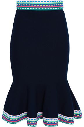 MILLY Fluted stretch-knit skirt