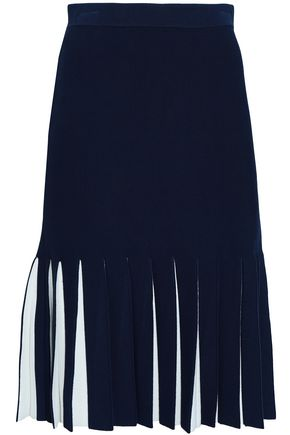 MILLY Pleated stretch-knit skirt