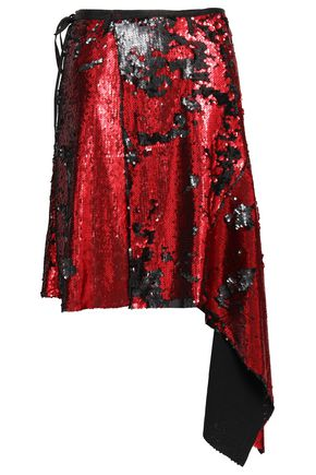 MARQUES' ALMEIDA Sequined embroidered jersey wrap skirt