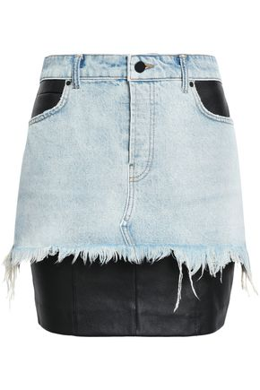 ALEXANDER WANG Stretch leather-paneled denim mini skirt