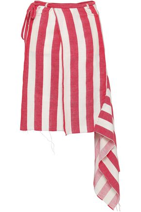 MARQUES' ALMEIDA Striped linen and cotton-blend mini wrap skirt