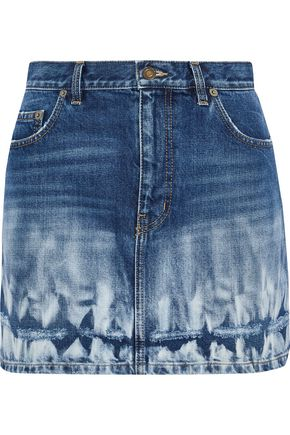 SAINT LAURENT Distressed bleached denim mini skirt