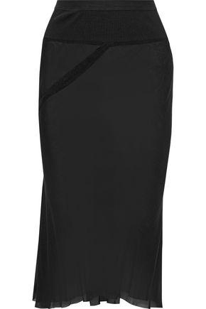 RICK OWENS Ribbed knit-paneled silk-chiffon pencil skirt
