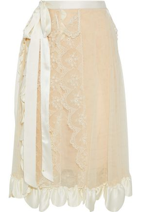 SIMONE ROCHA Ruffled satin-trimmed embroidered tulle midi skirt