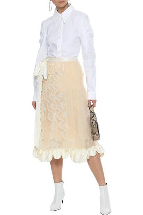 SIMONE ROCHA Ruffled satin-trimmed embroidered tulle midi skirt