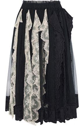 SIMONE ROCHA Broderie anglaise-paneled embroidered tulle midi skirt