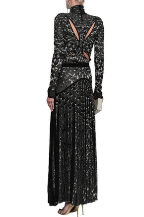 ROBERTO CAVALLI Pleated metallic jacquard-knit maxi skirt