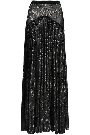 ROBERTO CAVALLI Pleated metallic jacquard-knit maxi skirt