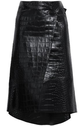 ROBERTO CAVALLI Asymmetric croc-effect leather wrap skirt