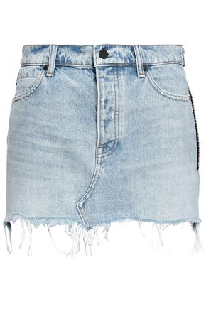 T by ALEXANDER WANG Frayed denim mini skirt