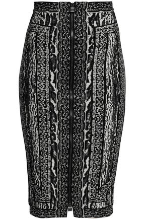 HERVÉ LÉGER Jacquard-knit pencil skirt