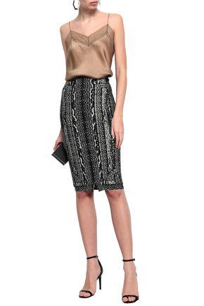 HERVÉ LÉGER Jacquard-knit pencil skirt