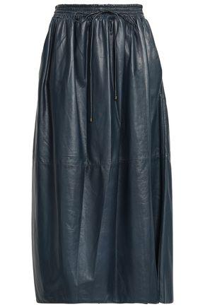 AGNONA Wrap-effect leather midi skirt