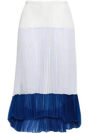 AGNONA Color-block pleated silk-georgette skirt