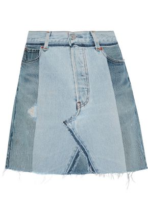 RE/DONE by LEVI'S Distressed patchwork denim mini skirt