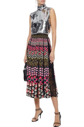SALONI Petra lace-paneled pleated floral-print crepe midi skirt