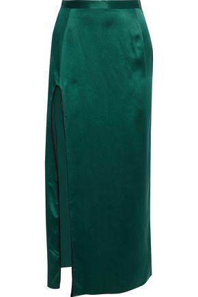 FLEUR DU MAL Split-front silk-satin maxi skirt