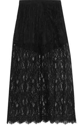 FLEUR DU MAL Layered cotton-blend lace maxi skirt