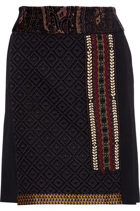 ETRO Embellished jacquard-trimmed matelassé and wool-blend twill mini skirt