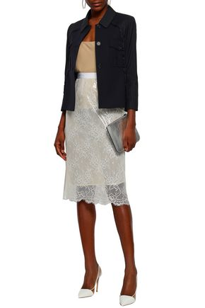 MAISON MARGIELA Layered lace and PVC pencil skirt